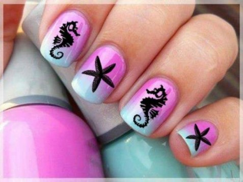 Рисовать морскую звезду на ногтях