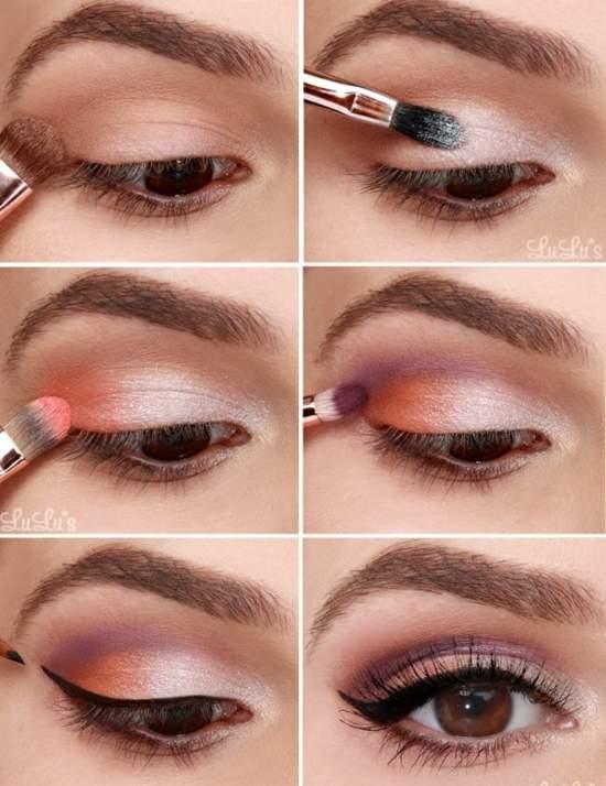 Теплый макияж глаз в мягких пастельных тонах с подводкой для глаз