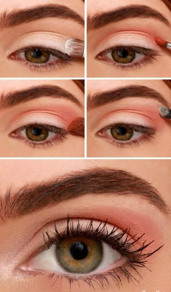 Сочетание персиковых теней с коричневым. Идея для макияжа глаз в постельном стиле