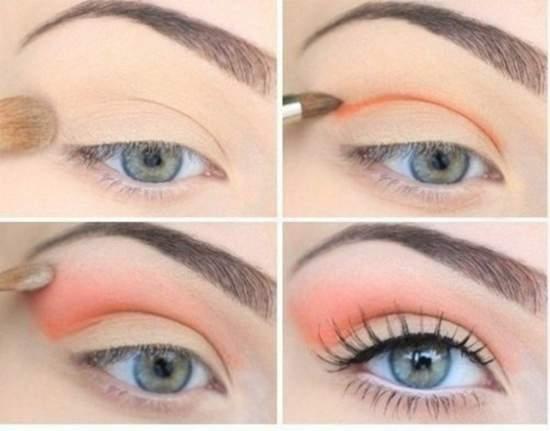 Женственный и нежный макияж глаз в персиковых тонах для зеленых глаз